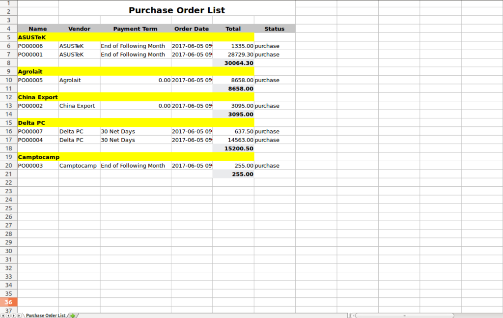 purchase rder list export excel in odo