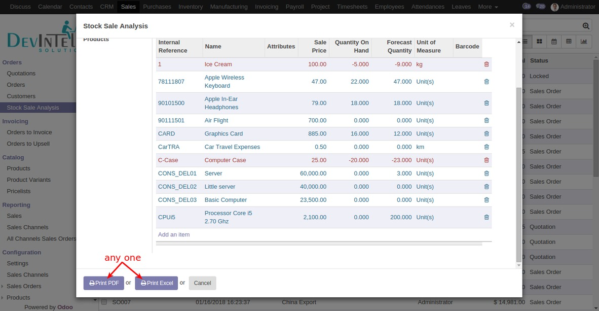 How to print sale stock analysis report in odoo » DevIntelle