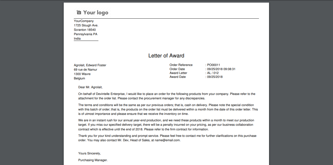 Purchase Award Letter - Procurement process   odoo App