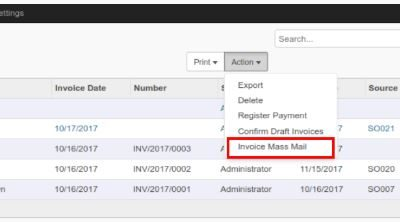 Mass customer invoice send by email